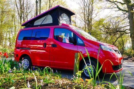 Nissan NV200 CamperCar Sussex Campervans Red pop top camper.JPEG